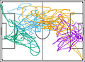 Directional change of fluid particles in two-dimensional turbulence and of football players